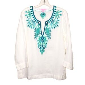 Lilly Pulitzer White Linen Blouse